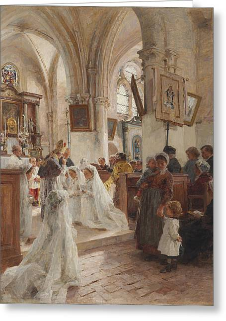 Religious Art Greeting Cards - The Confirmation Greeting Card by Leon Augustin Lhermitte