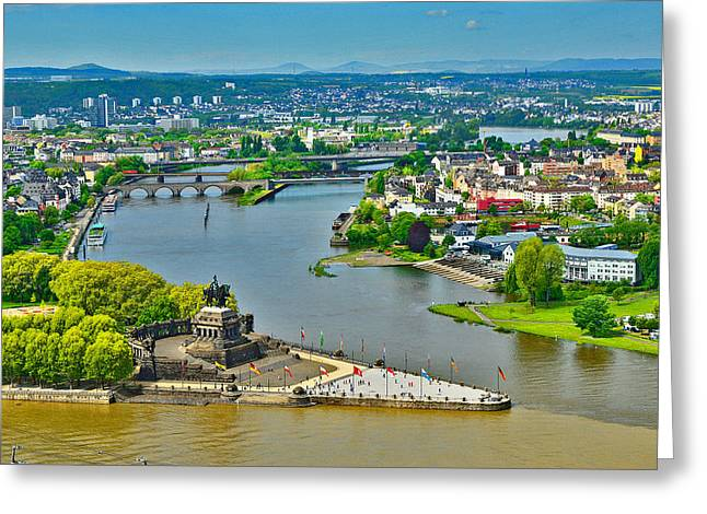 Merging Greeting Cards - The confluence of two rivers.  Moselle and  Rhine. Greeting Card by Andy Za