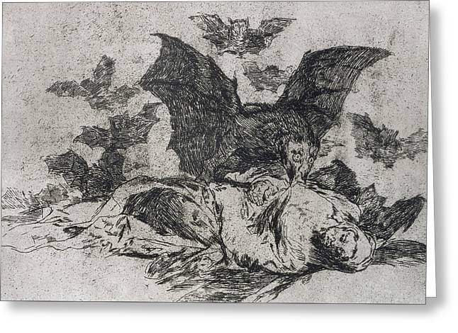 Pen And Ink Drawing Greeting Cards - The consequences Greeting Card by Goya