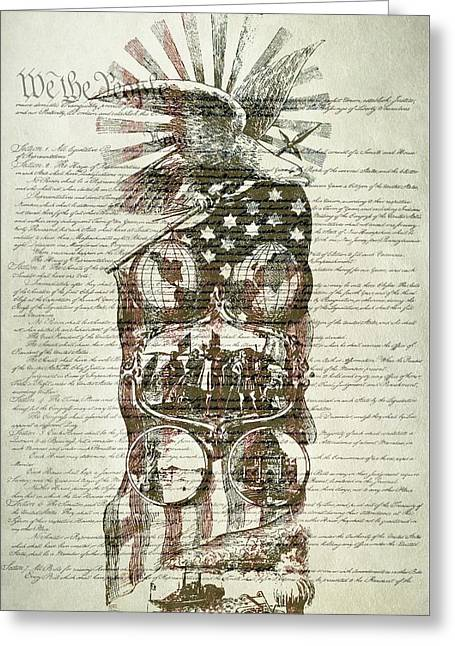 The Constitution Of The United States Of America Greeting Card by Dan Sproul