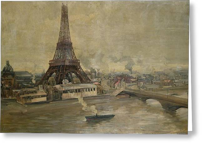 Universal Paintings Greeting Cards - The Construction of the Eiffel Tower Greeting Card by Paul Louis Delance