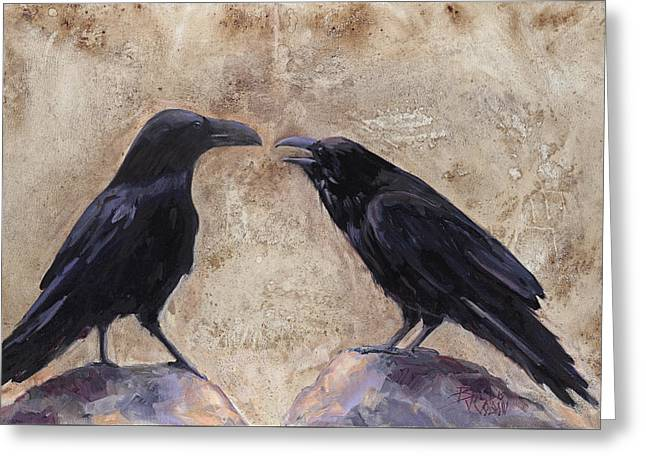 The Conversation Greeting Card by Billie Colson