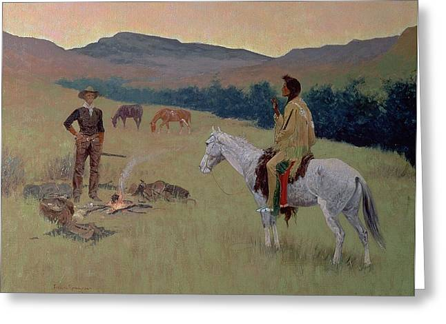 The Plains Greeting Cards - The Conversation Greeting Card by Frederic Remington