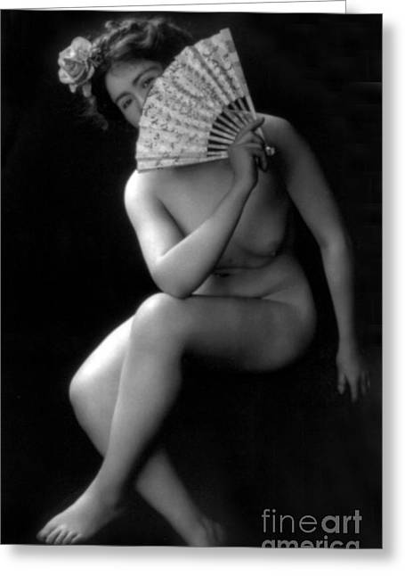 Racy Greeting Cards - The Coquette, Nude Model, 1900s Greeting Card by Science Source