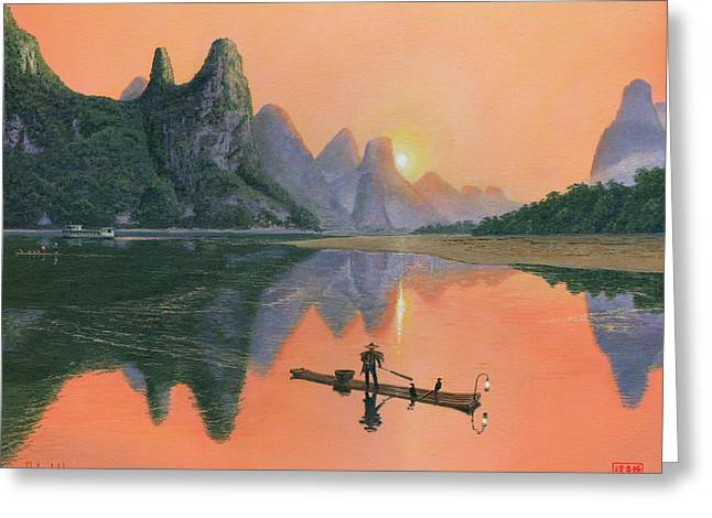 The Cormorant Fisherman Li River Guilin China  Greeting Card by Richard Harpum