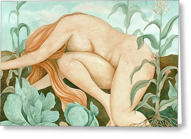 Maiden Greeting Cards - The Corn Maiden Greeting Card by Sheri Howe