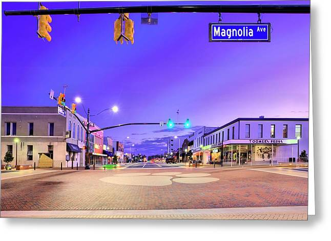 Toomers Corner Greeting Cards - The Corner of College And Magnolia Greeting Card by JC Findley