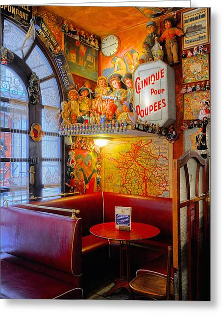 Toy Shop Greeting Cards - The Corner Table Greeting Card by Dave Mills