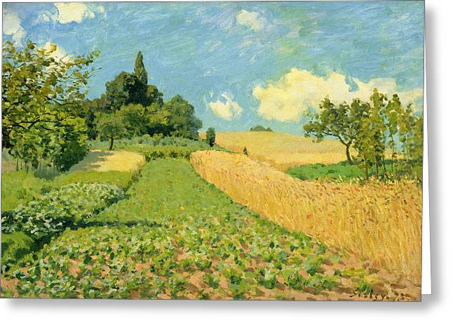 Cornfield Paintings Greeting Cards - The Cornfield Greeting Card by Alfred Sisley