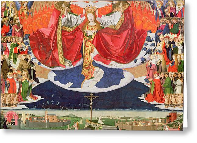 Patriarch Greeting Cards - The Coronation of the Virgin Greeting Card by Enguerrand Quarton