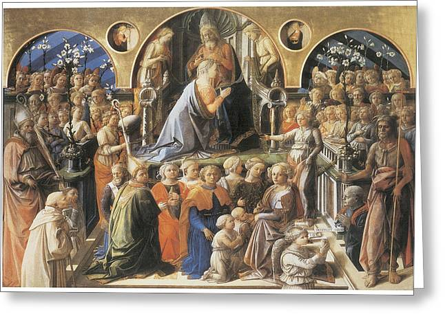 Fra Greeting Cards - The Coronation of the Virgin Greeting Card by Fra Filippo Lippi