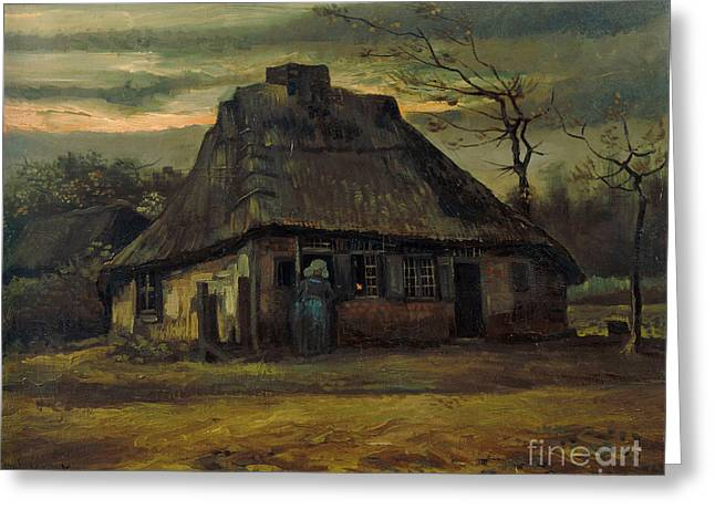 Vintage Painter Greeting Cards - The cottage Greeting Card by Van Gogh