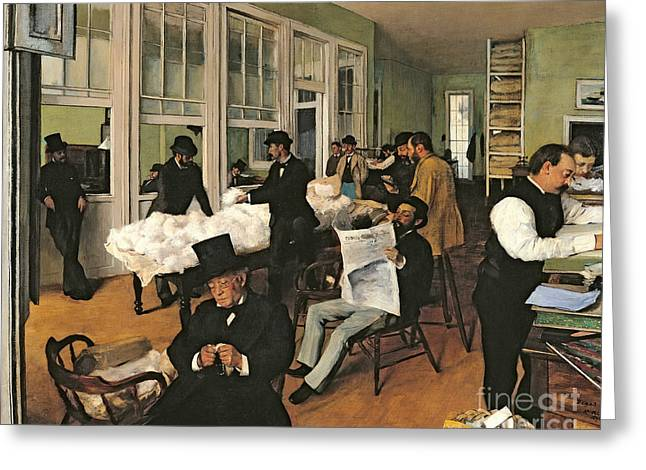 Business Paintings Greeting Cards - The Cotton Exchange Greeting Card by Edgar Degas