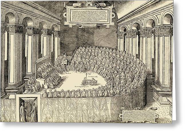 Trent Greeting Cards - The Council Of Trent, 1563. The Greeting Card by Ken Welsh