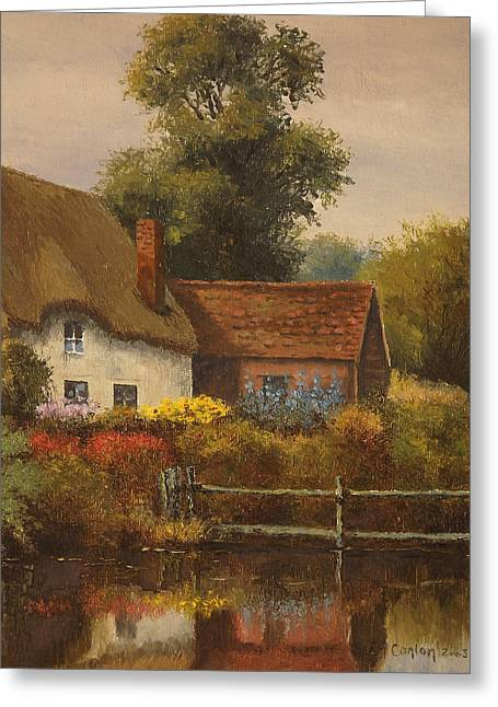 The Country Cottage Greeting Card by Sean Conlon