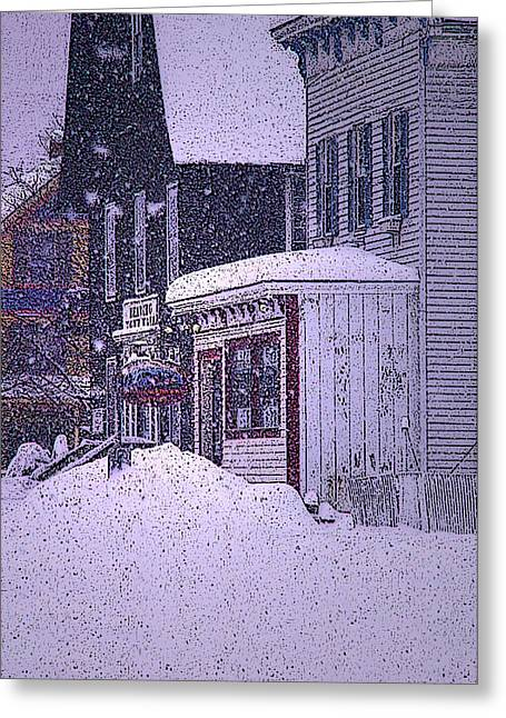 Vermont Country Store Greeting Cards - The Country Store Amidst the Snow  Greeting Card by Nancy Griswold