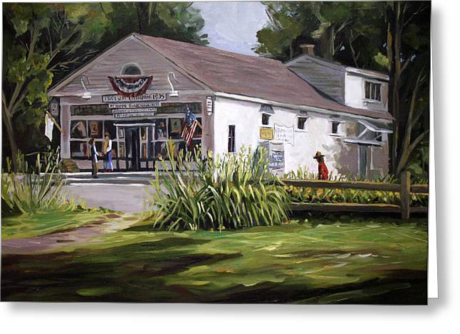 New England Village Paintings Greeting Cards - The Country Store Greeting Card by Nancy Griswold