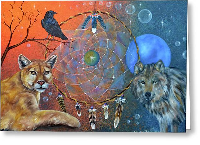 Wolf Moon Greeting Cards - The Courage to be Free Greeting Card by Sundara Fawn