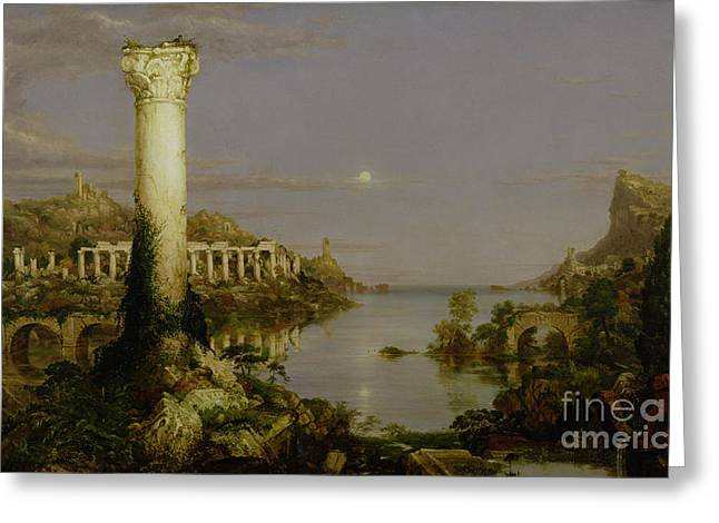 Calm Waters Paintings Greeting Cards - The Course of Empire - Desolation Greeting Card by Thomas Cole