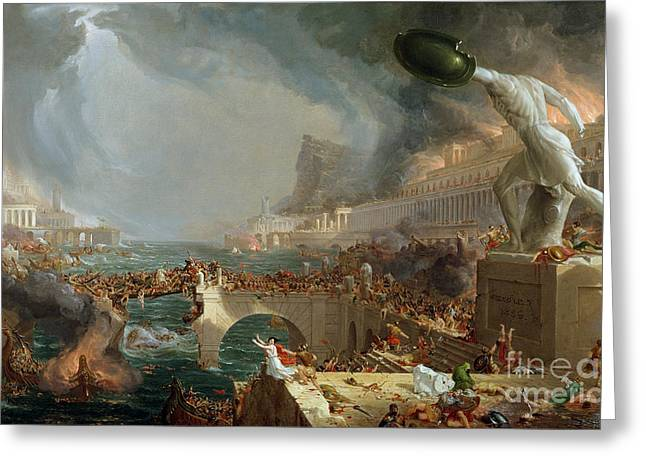 Stormy Clouds Greeting Cards - The Course of Empire - Destruction Greeting Card by Thomas Cole