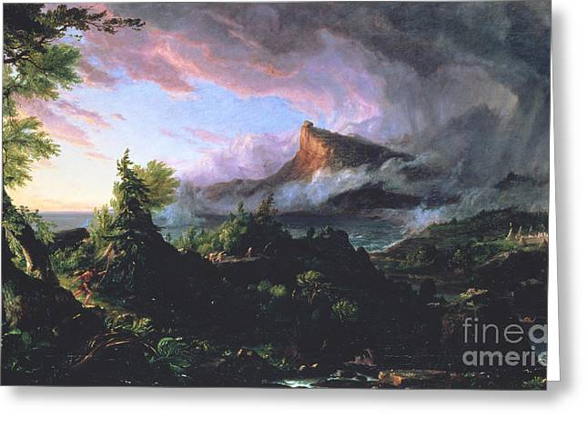 Eruption Greeting Cards - The Course of Empire - The Savage State Greeting Card by Thomas Cole