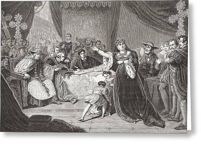 Trial Drawings Greeting Cards - The Court For The Trial Of Queen Greeting Card by Ken Welsh