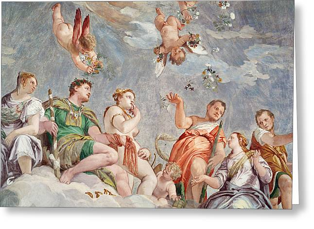 Renaissance Prints Greeting Cards - The Court of Love  Greeting Card by Veronese