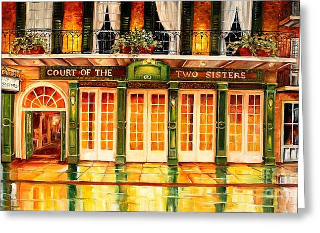 Night Lamp Greeting Cards - The Court of Two Sisters on Royal Greeting Card by Diane Millsap