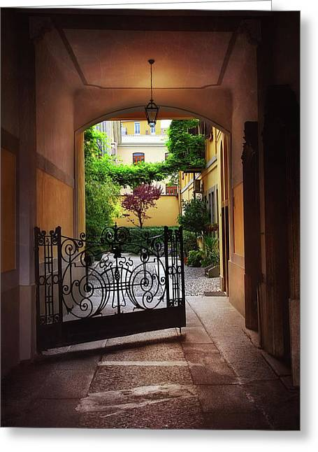 The Courtyard Gate Greeting Card by Carol Japp