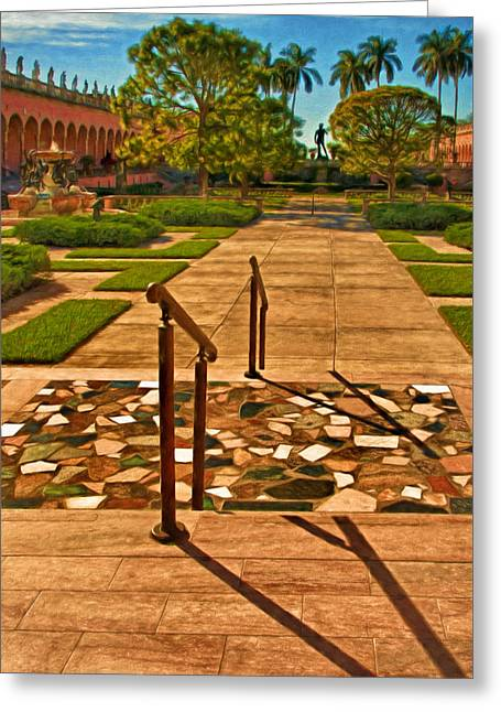The Courtyard - John And Mabel Ringling Museum Of Art Greeting Card by Mitch Spence