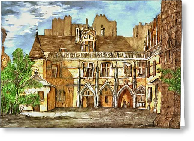 The Courtyard Of The Medieval Castle Greeting Card by Sergey Lukashin