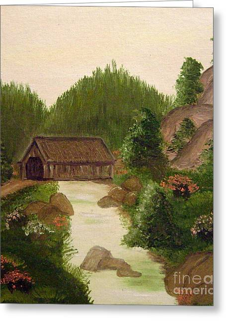 The Covered Bridge Greeting Card by Kim Walker