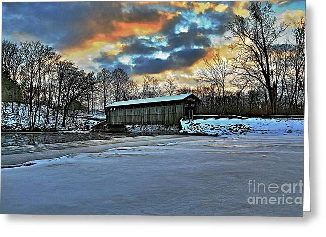 Snow-covered Landscape Greeting Cards - The covered bridge Greeting Card by Robert Pearson