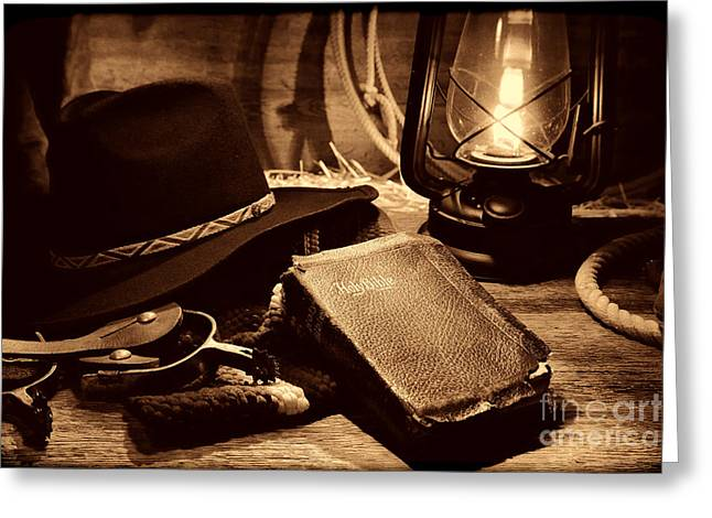 Old Western Photos Greeting Cards - The Cowboy Bible Greeting Card by American West Legend By Olivier Le Queinec