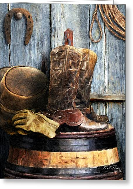 Horse Shoe Greeting Cards - The Cowboy Greeting Card by Bill Fleming