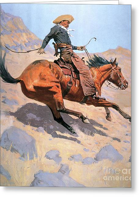 The Cowboy Greeting Card by Frederic Remington