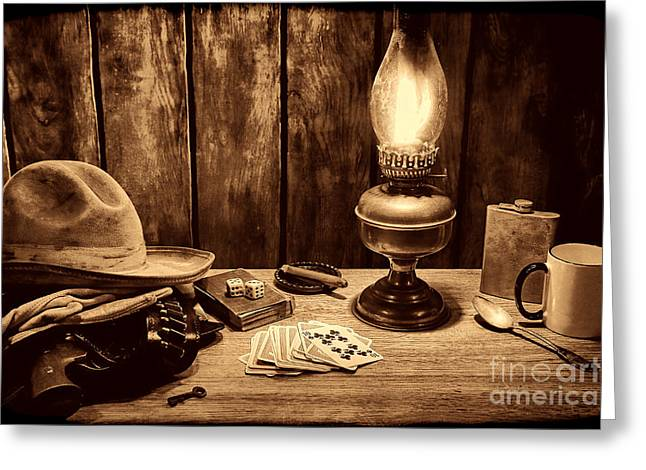 Oil Lamp Greeting Cards - The Cowboy Nightstand Greeting Card by American West Legend By Olivier Le Queinec