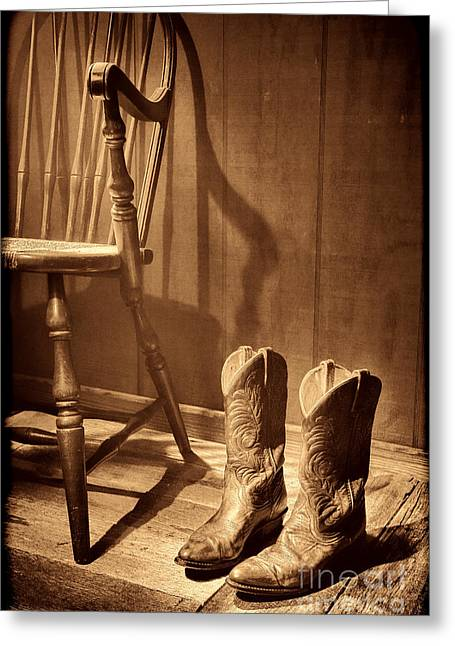 The Cowgirl Boots And The Old Chair Greeting Card by American West Legend By Olivier Le Queinec