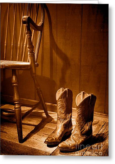 The Cowgirl Boots And The Old Chair - Sepia Greeting Card by Olivier Le Queinec