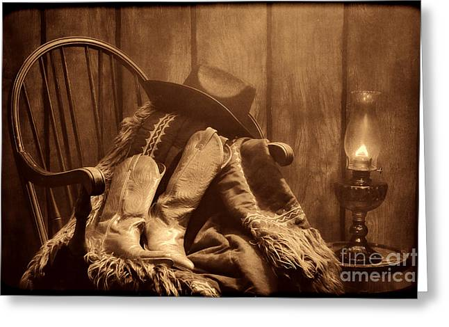 Old Western Photos Greeting Cards - The Cowgirl Rest Greeting Card by American West Legend By Olivier Le Queinec