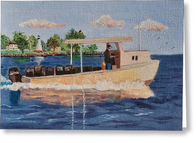 The Crab Fisherman Leaving Havre De Grace Greeting Card by Jeannie Allerton