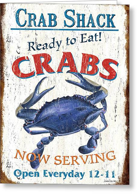 Dish Greeting Cards - The Crab Shack Greeting Card by Debbie DeWitt