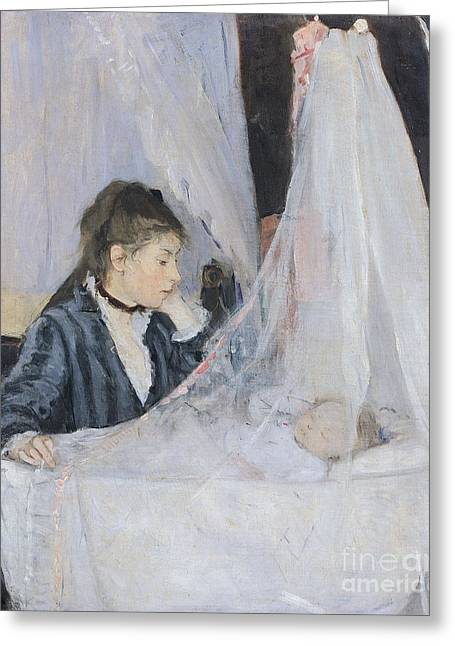 Caring Mother Paintings Greeting Cards - The Cradle Greeting Card by Berthe Morisot
