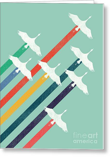 Crane Greeting Cards - The Cranes Greeting Card by Budi Kwan