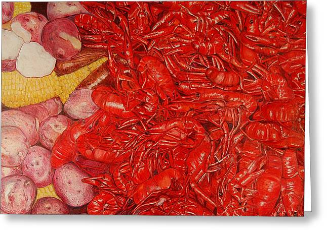 Cajun Drawings Greeting Cards - The Crawfish Boil Greeting Card by Lois Guthridge