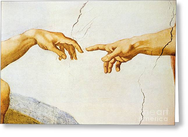 Outstretched Arm Paintings Greeting Cards - The Creation of Adam Greeting Card by Michelangelo Buonarroti