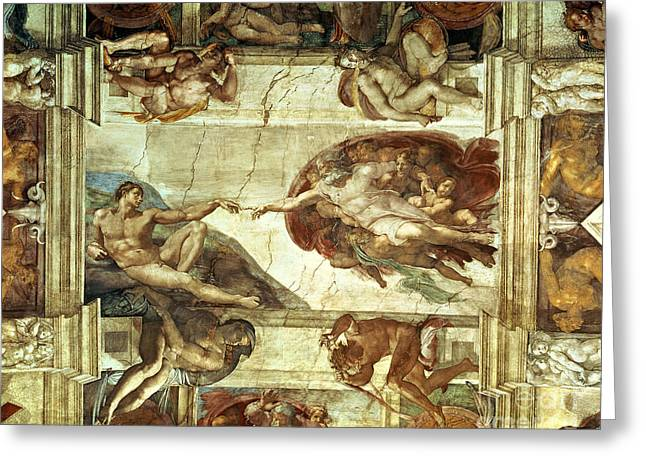 Creation Greeting Cards - The Creation of Adam Greeting Card by Michelangelo