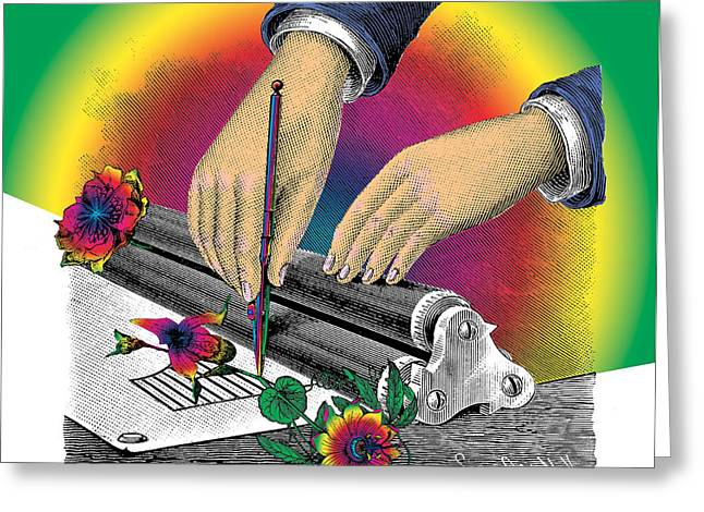 Long-lasting Greeting Cards - The Creation of Flowers Greeting Card by Eric Edelman