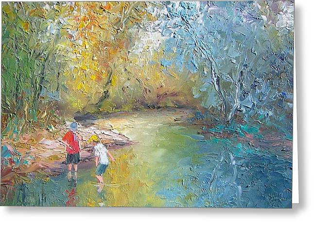 The Creek In The Forest Greeting Card by Jan Matson