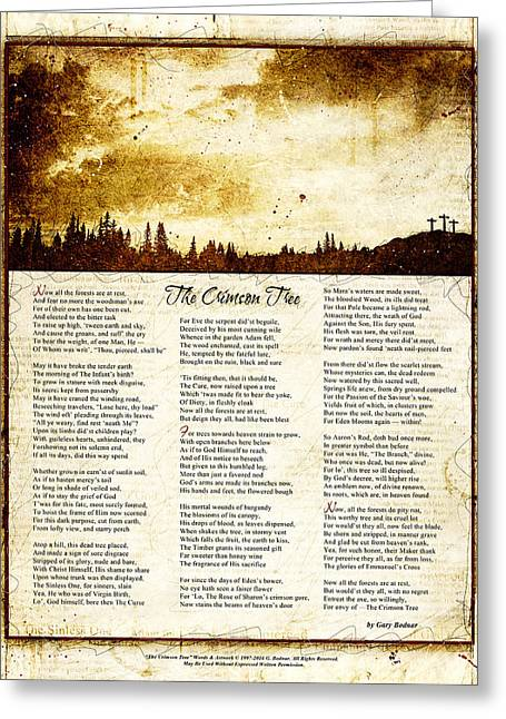The Crimson Tree Poem Greeting Card by Gary Bodnar